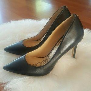 Sam Edelmam black leather Hazel heels pointed 6M